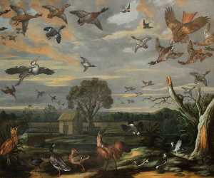 Francis Barlow - Landscape with Birds and a Duck Decoy
