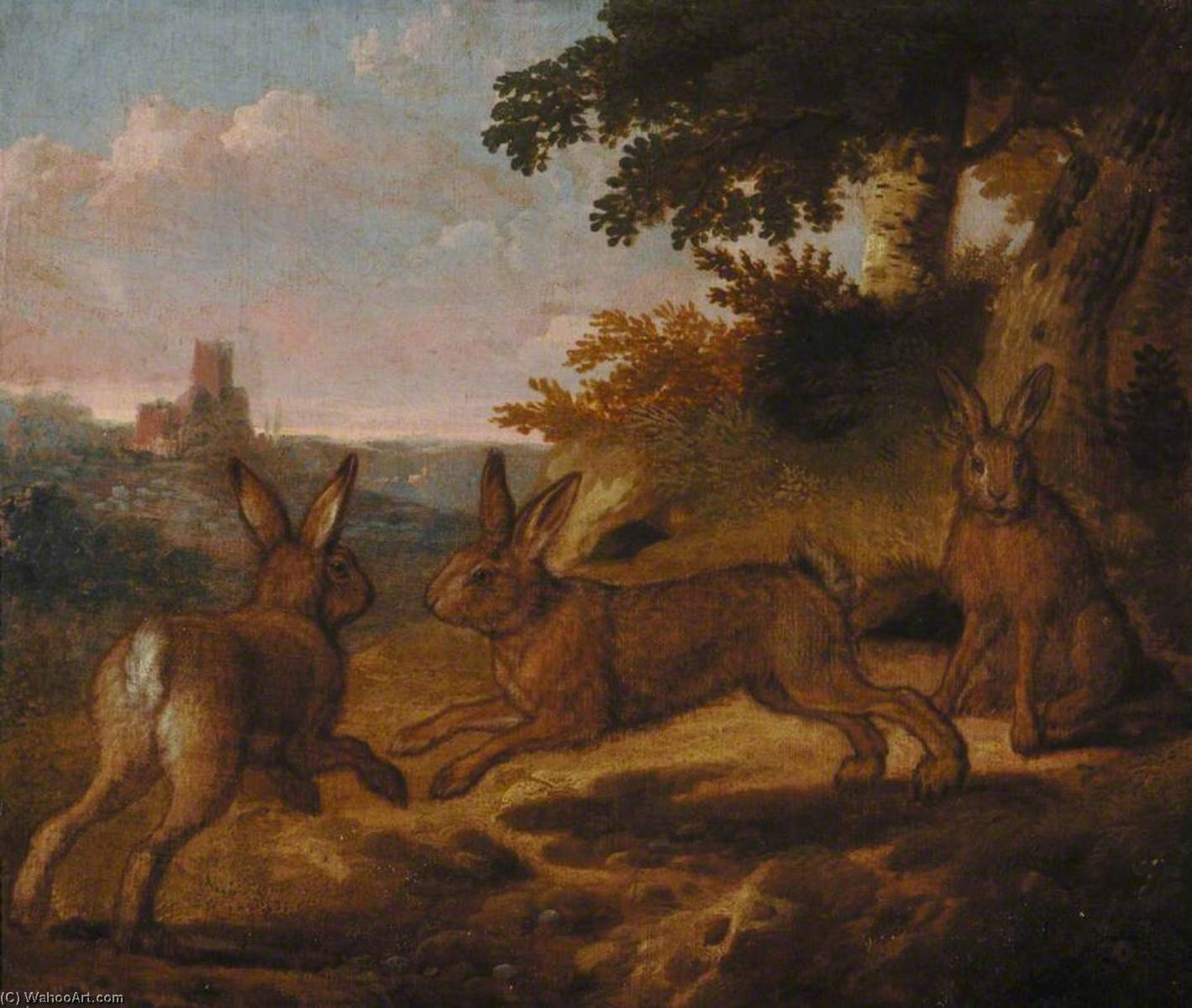 Three Hares by Francis Barlow (1624-1704, United Kingdom) | Famous Paintings Reproductions | WahooArt.com