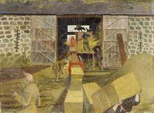 Evelyn Mary Dunbar - Threshing and Baling, Monmouthshire