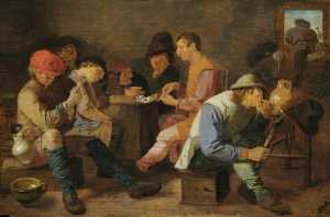 Adriaen Brouwer - Boors Smoking and Drinking