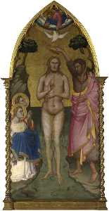 Niccolò Di Pietro Gerini - The Baptism of Christ Main Tier Central Panel