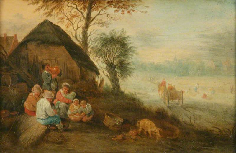Farmyard Scene Reaping, Oil On Panel by Theobald Michau (1676-1765, Belgium)