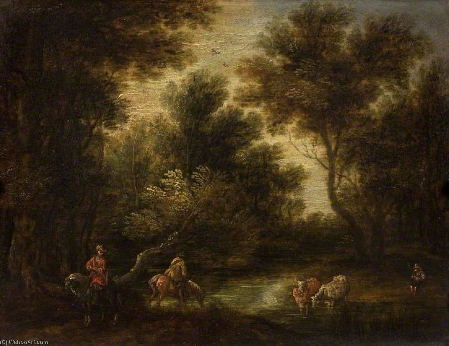Wooded Landscape with Stream and Figures, Oil On Panel by Theobald Michau (1676-1765, Belgium)