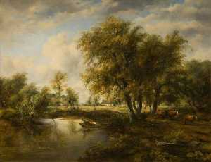 Frederick Waters (William) Watts - Landscape with a Stream