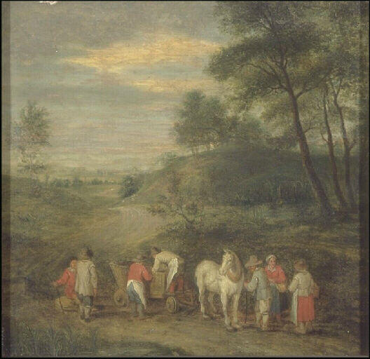 Paysage, Oil by Theobald Michau (1676-1765, Belgium)