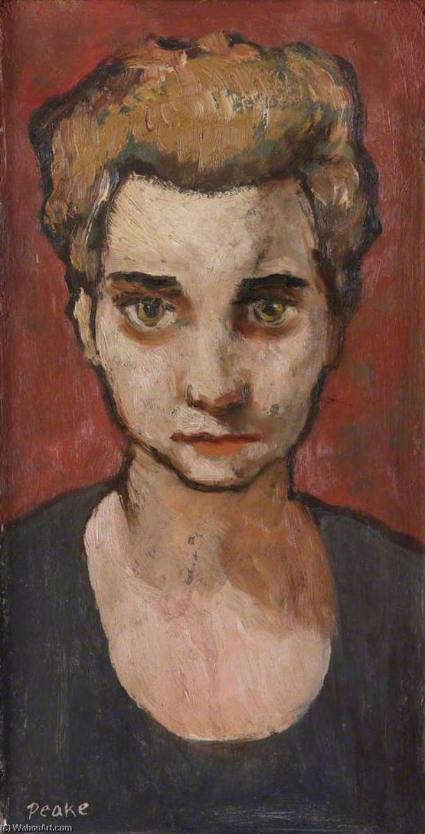 Girl's Head, Oil On Canvas by Peake Mervyn (1911-1968, China)