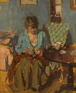 Bernard Dunstan - Girl Sewing