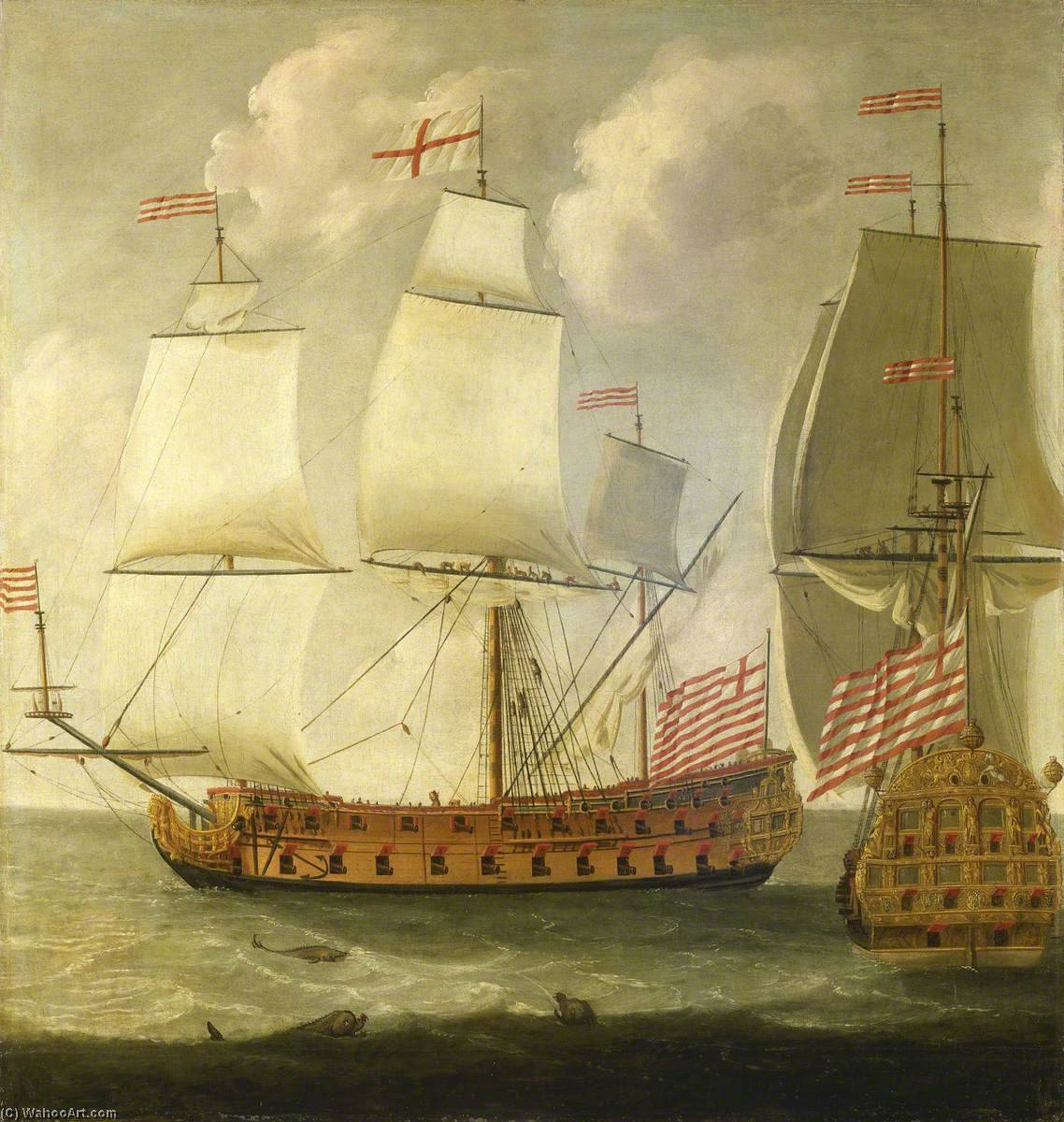 Two Views of an East Indiaman of the Time of William III, Oil On Canvas by Isaac Sailmaker (1633-1721)
