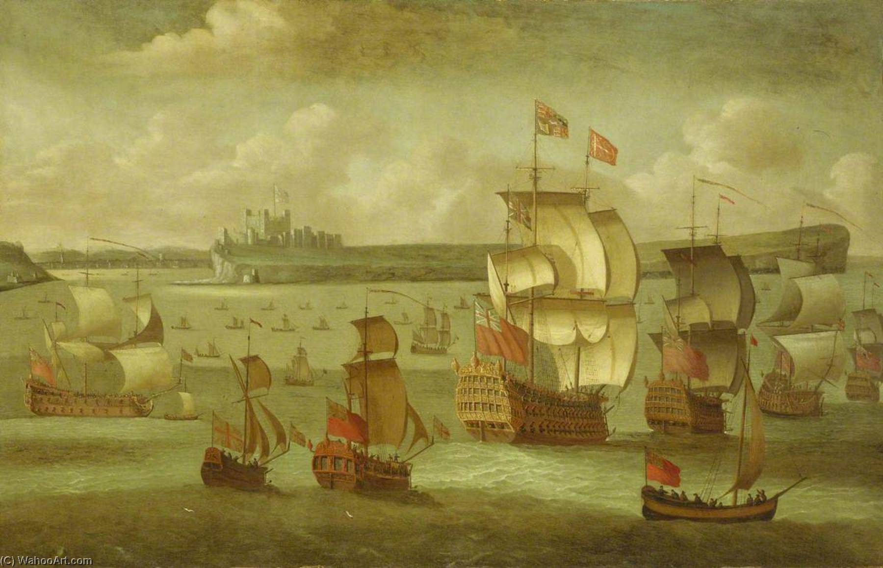 A Ship Flying the Royal Standard with Other Vessels off Dover, Oil On Canvas by Isaac Sailmaker (1633-1721)