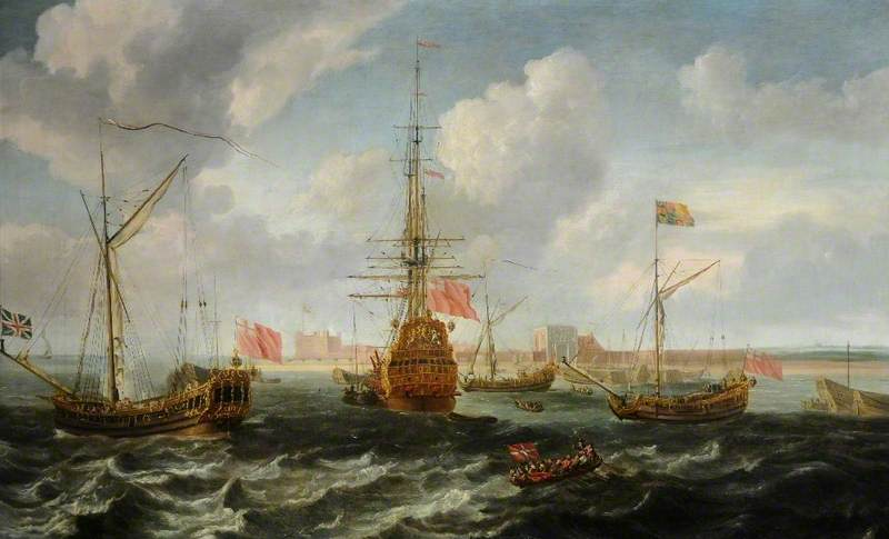 Shipping off Sheerness, Oil On Canvas by Isaac Sailmaker (1633-1721)