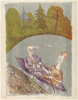 In the Rowboat (Im Ruderboot), Lithography by Conrad Felixmüller (1897-1977)