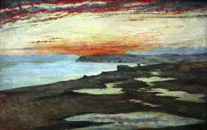 Henry Wallis - A Coast Study, Sunset, Seaford
