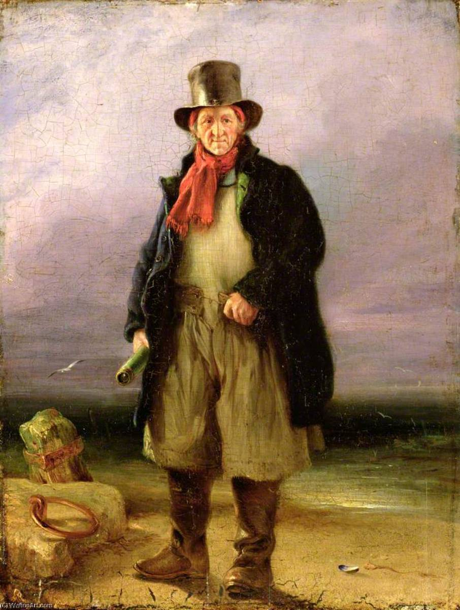 The Old Pilot, Oil by Henry Perlee Parker