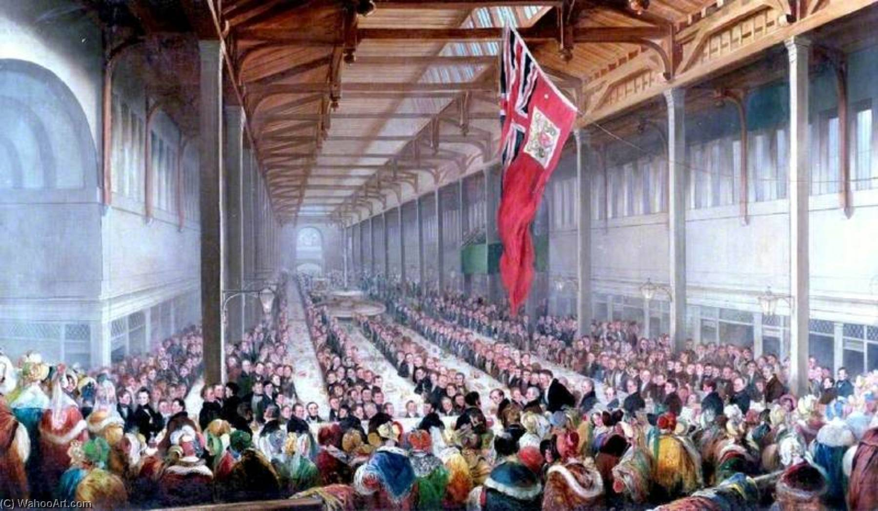 The Banquet Given on the Occasion of the Opening of the Grainger Market, Newcastle upon Tyne, 1835, 1835 by Henry Perlee Parker | Museum Quality Copies Henry Perlee Parker | WahooArt.com