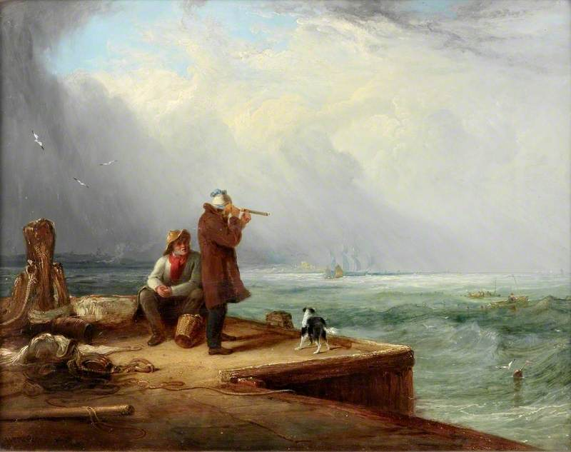 The Look Out, Shields Harbour, Oil On Panel by Henry Perlee Parker