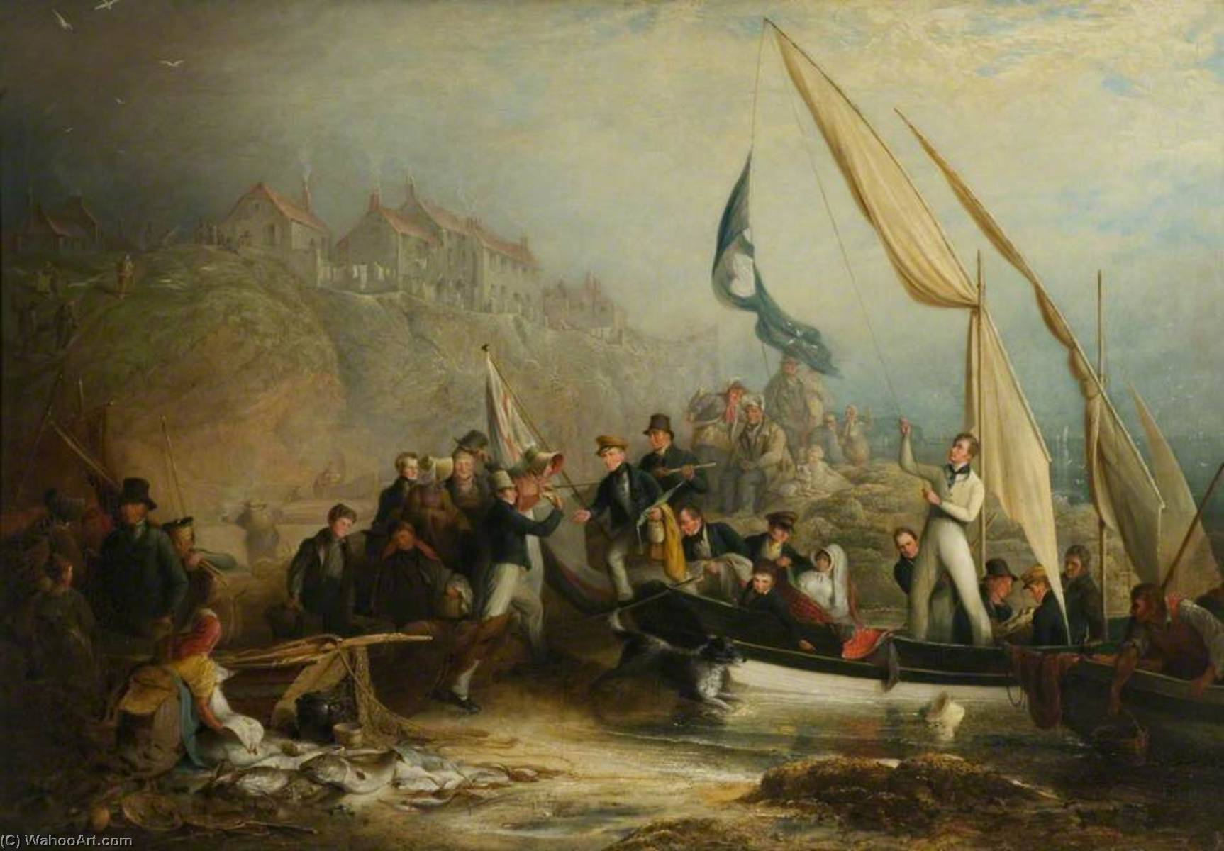 The Cullercoats Party, 1818 by Henry Perlee Parker | Paintings Reproductions Henry Perlee Parker | WahooArt.com