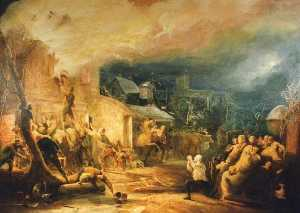 Henry Perlee Parker - The Fire at Epworth Rectory, South Yorkshire