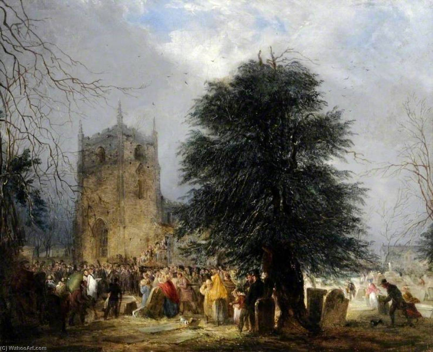 The Burial of Sir Francis Chantrey in Norton Churchyard, Sheffield, 1841 by Henry Perlee Parker | Art Reproduction | WahooArt.com