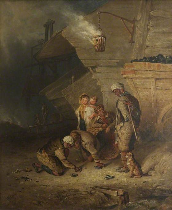 Pitmen Playing at Quoits, Oil On Canvas by Henry Perlee Parker