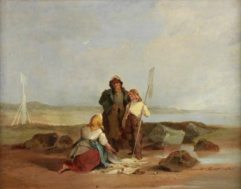 Fisherfolk on a Beach, Oil On Canvas by Henry Perlee Parker
