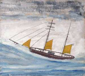 Alfred Wallis - Fishing Boat with Two Masts and Yellow Sails