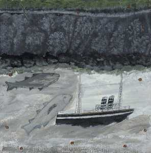 Alfred Wallis - Land, Fish and Motor Vessel
