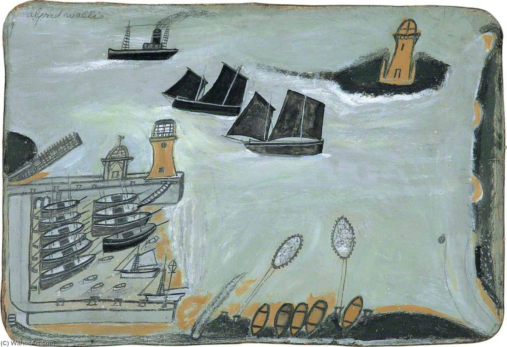 Three ships and lighthouse (verso), Pen by Alfred Wallis (1855-1942, United Kingdom)