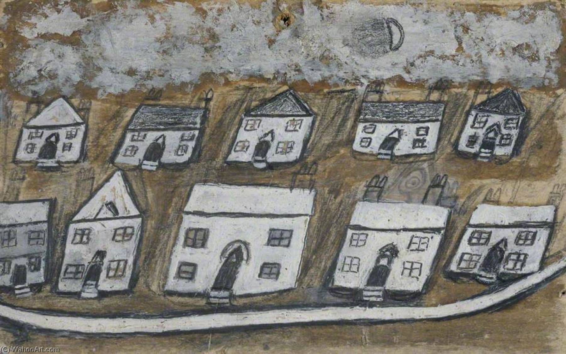 White Houses, Hales Down, near St Ives, Graphite by Alfred Wallis (1855-1942, United Kingdom)