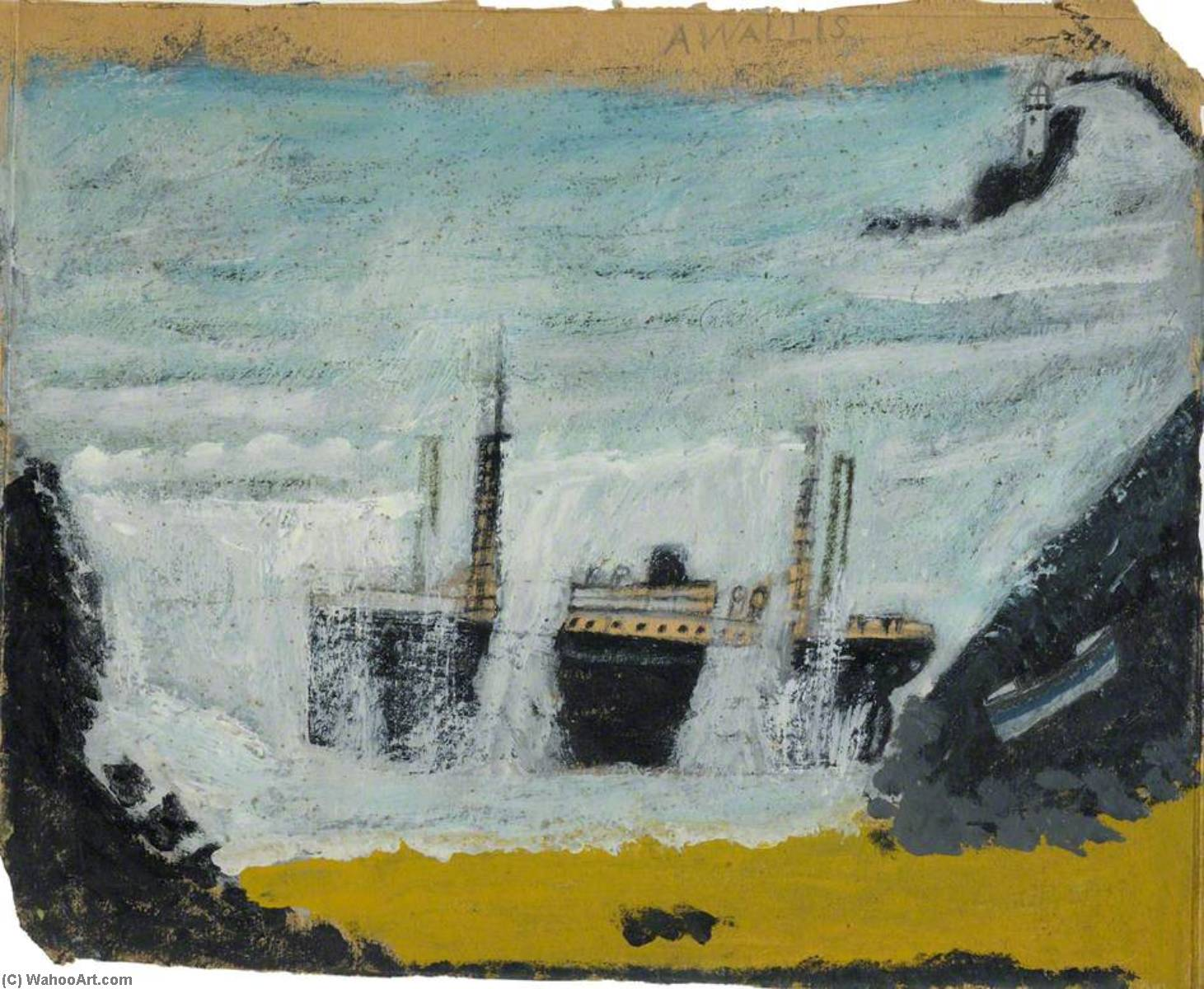 Shipwreck 1, the Wreck of the 'Alba', 1940 by Alfred Wallis (1855-1942, United Kingdom) | WahooArt.com
