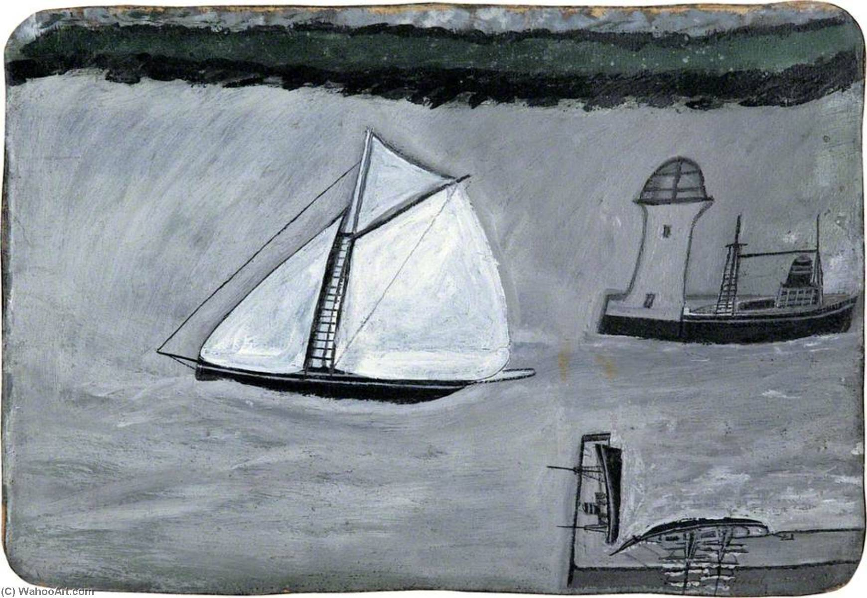St Ives harbour White sailing ship (recto), 1938 by Alfred Wallis (1855-1942, United Kingdom) | Museum Quality Reproductions | WahooArt.com