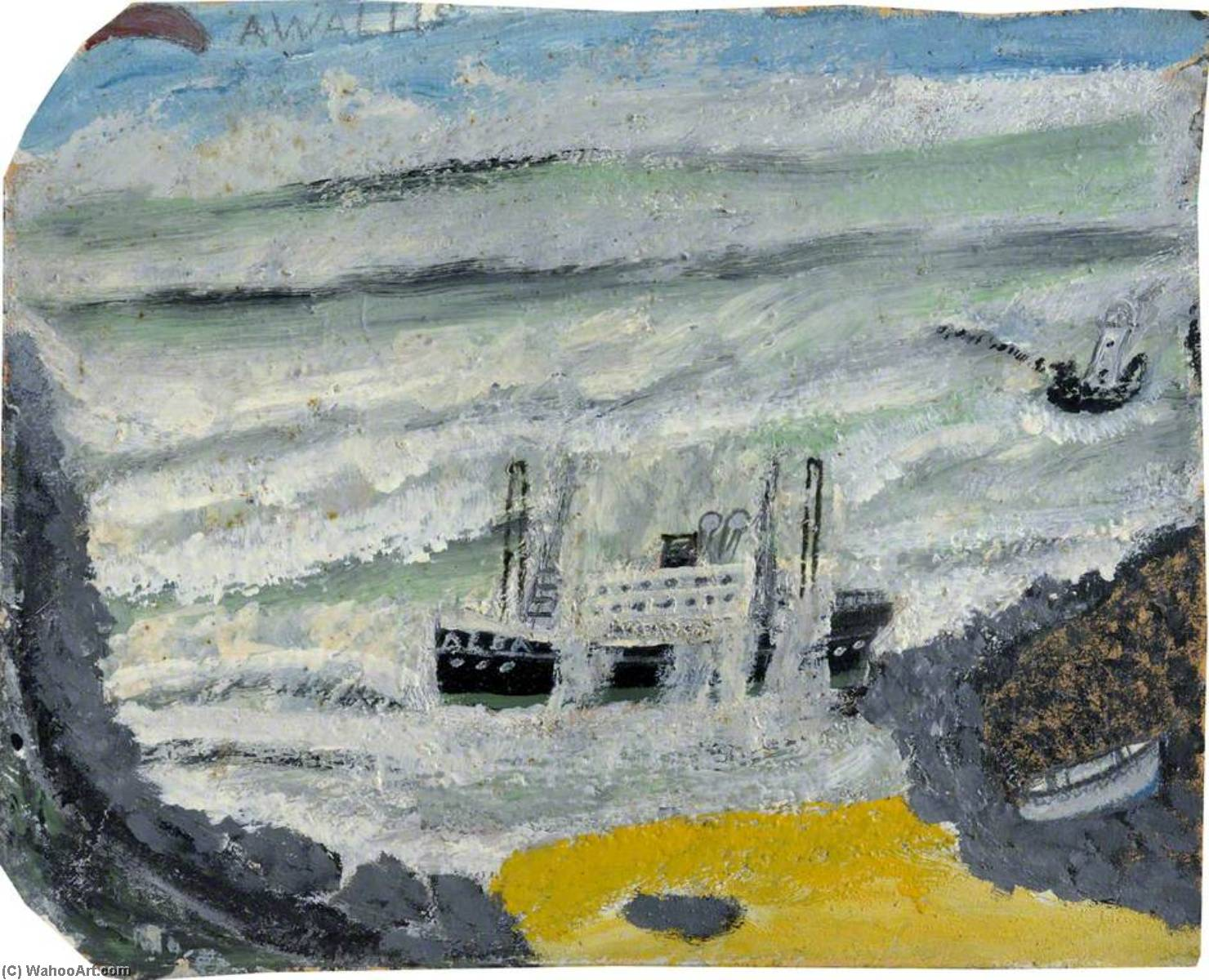 Shipwreck 2, the Wreck of the 'Alba', 1941 by Alfred Wallis (1855-1942, United Kingdom) | WahooArt.com