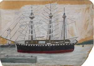 Alfred Wallis - Three Masted Ship near Lighthouse