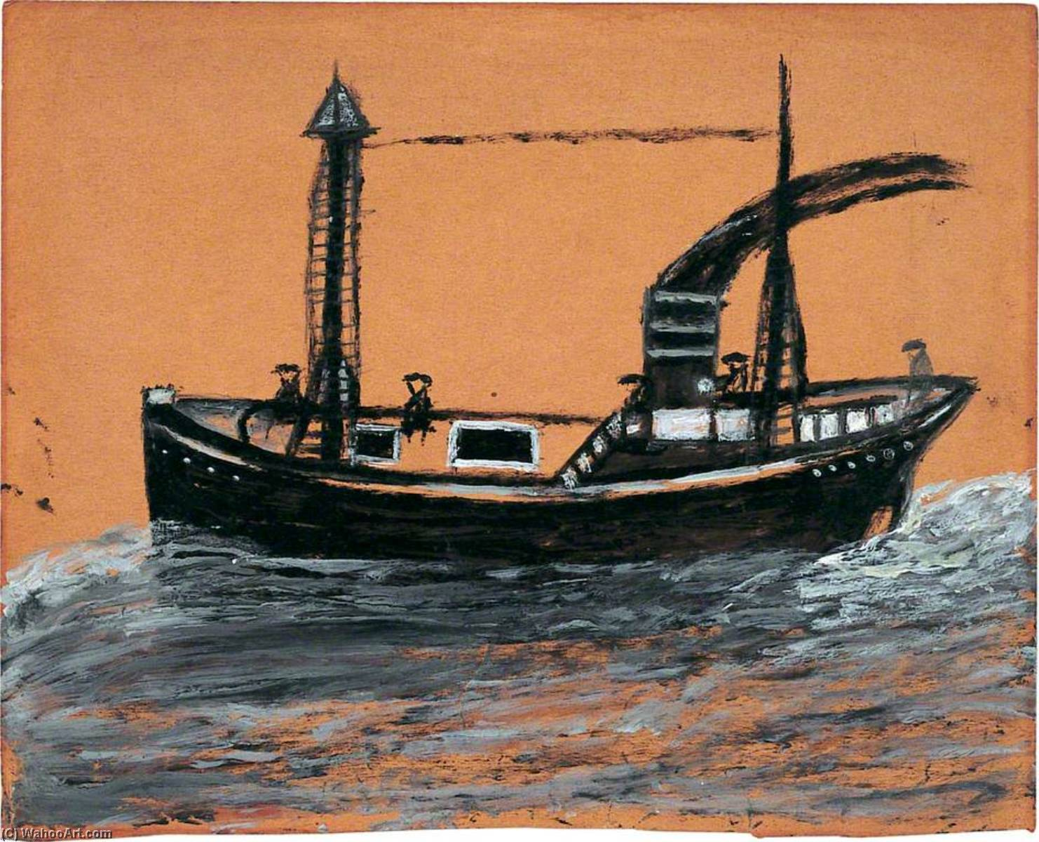Black Steamship, 1938 by Alfred Wallis (1855-1942, United Kingdom) | WahooArt.com