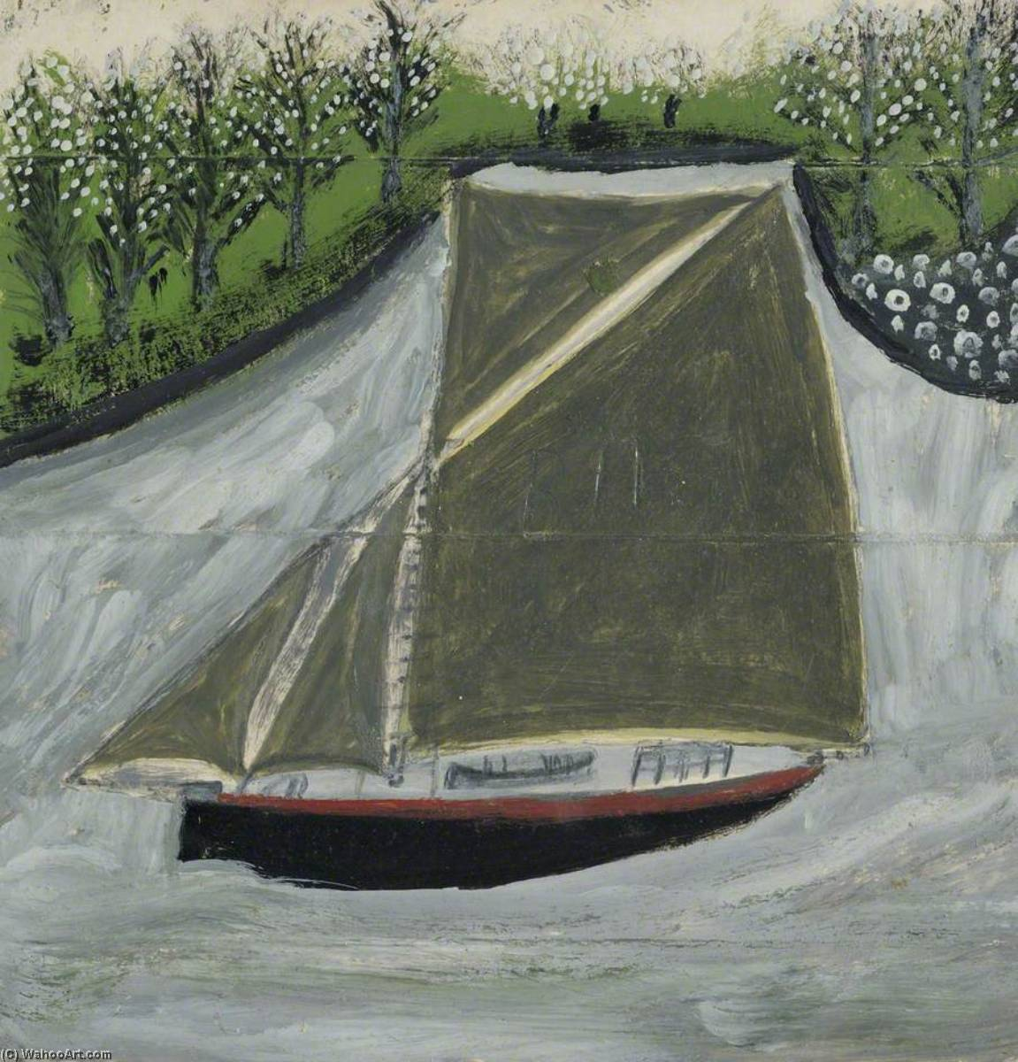 Sailing Ship and Orchard, 1937 by Alfred Wallis (1855-1942, United Kingdom) | WahooArt.com