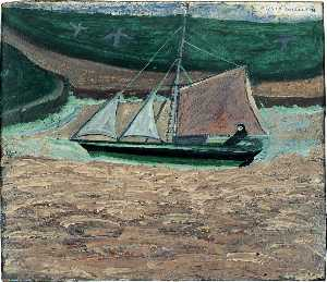 Alfred Wallis - Yacht, pink and green (verso)