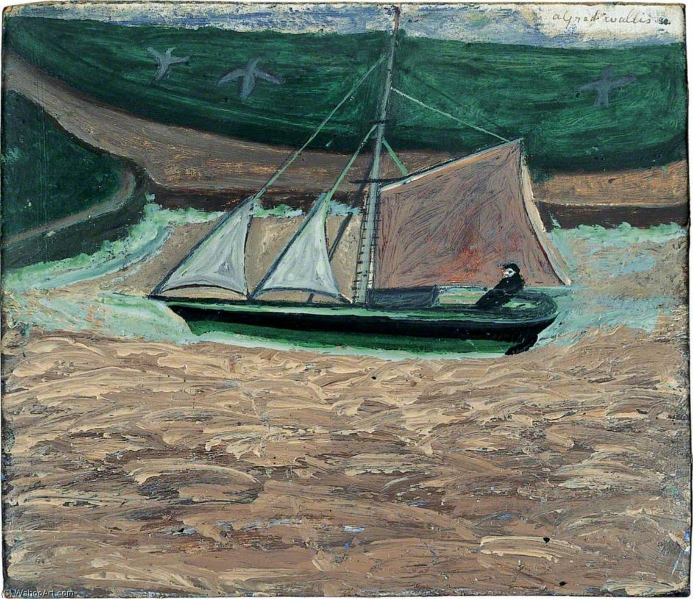 Yacht, pink and green (verso), 1938 by Alfred Wallis (1855-1942, United Kingdom) | Famous Paintings Reproductions | WahooArt.com