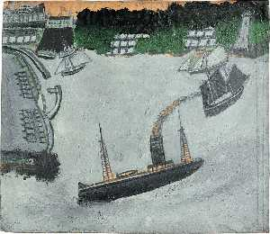 Alfred Wallis - St Ives harbour and Godrevy (recto)