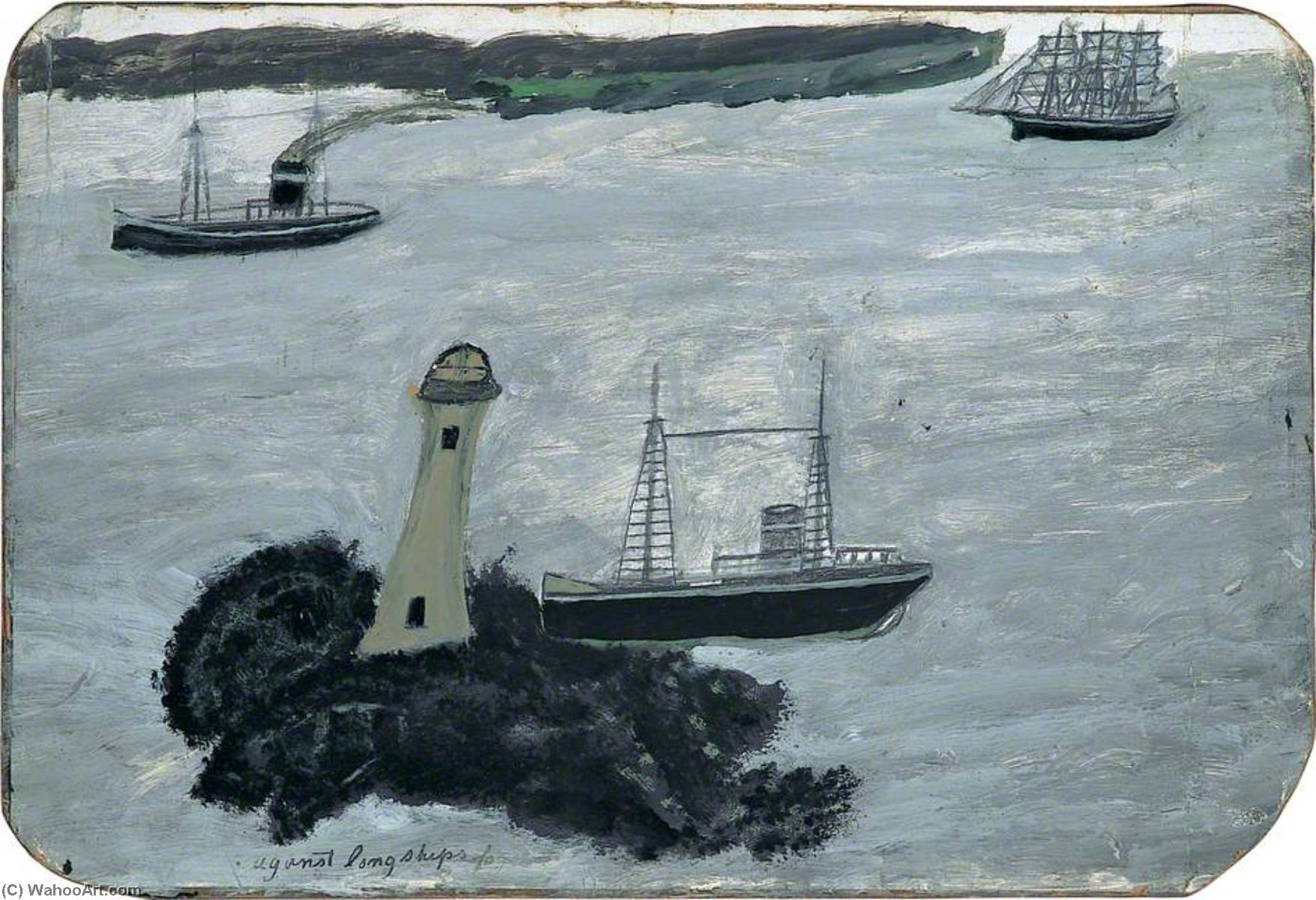 Against Longships fog (recto), 1938 by Alfred Wallis (1855-1942, United Kingdom) | Oil Painting | WahooArt.com