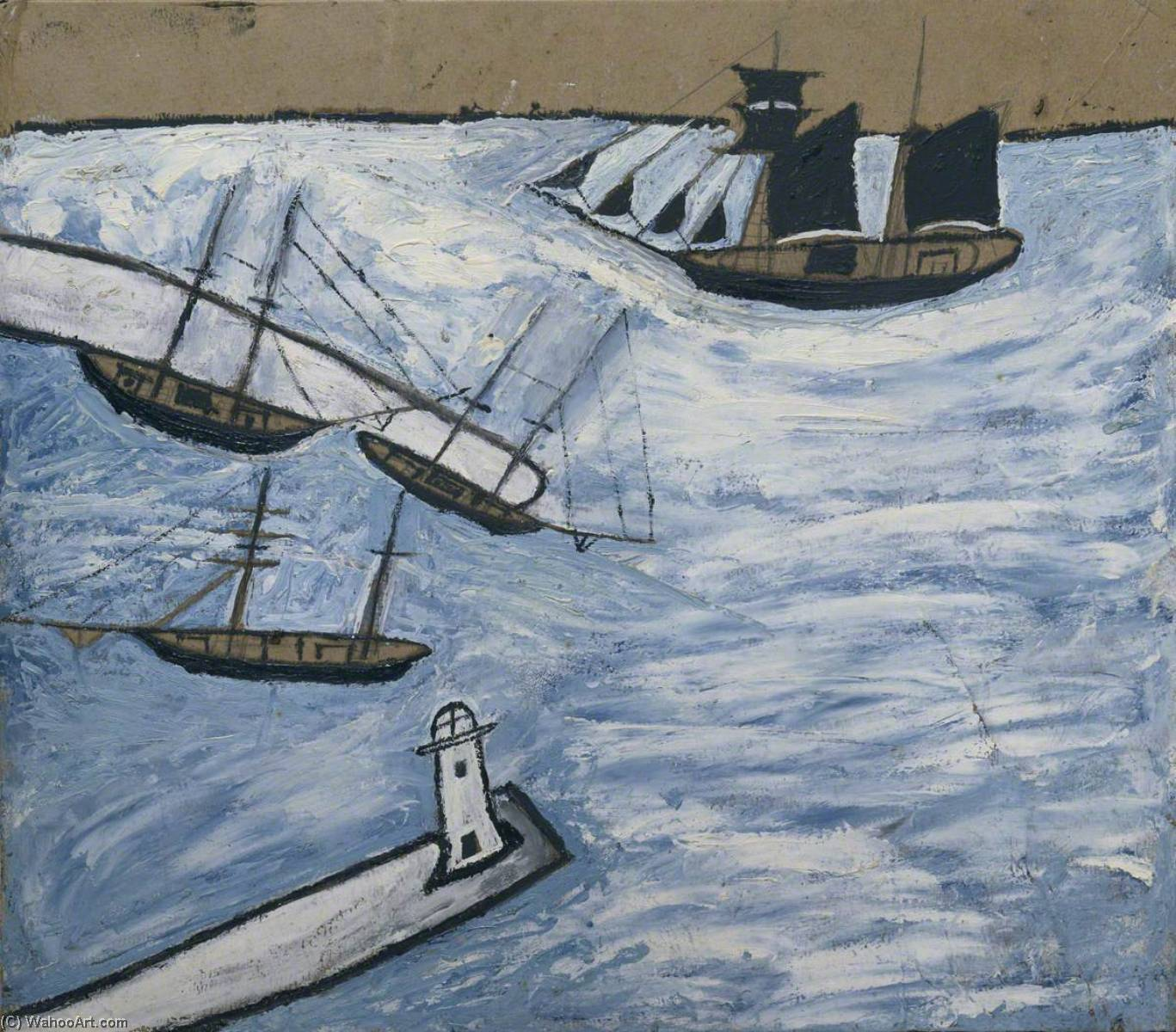 St Ives Harbour, Cornwall, Graphite by Alfred Wallis  (order Fine Art Print on canvas Alfred Wallis)