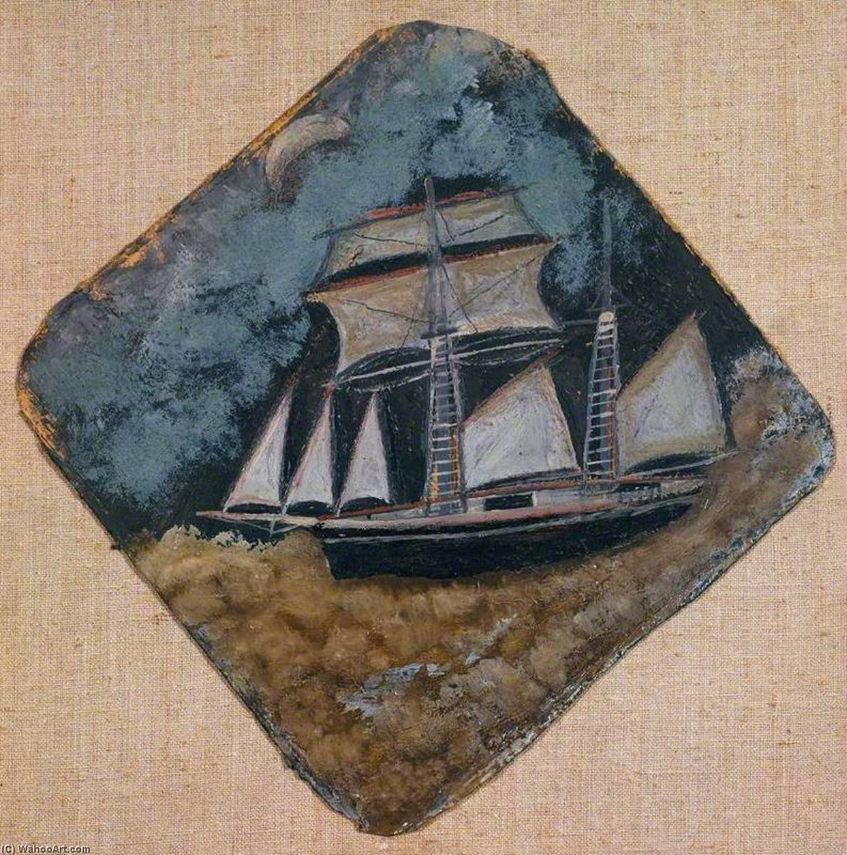 Schooner under the Moon, Wood by Alfred Wallis (1855-1942, United Kingdom)