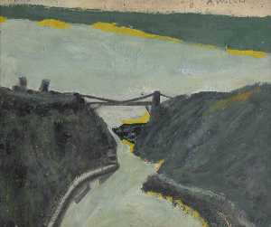 Alfred Wallis - Ravine with Estuary (Bristol Channel and Suspension Bridge )