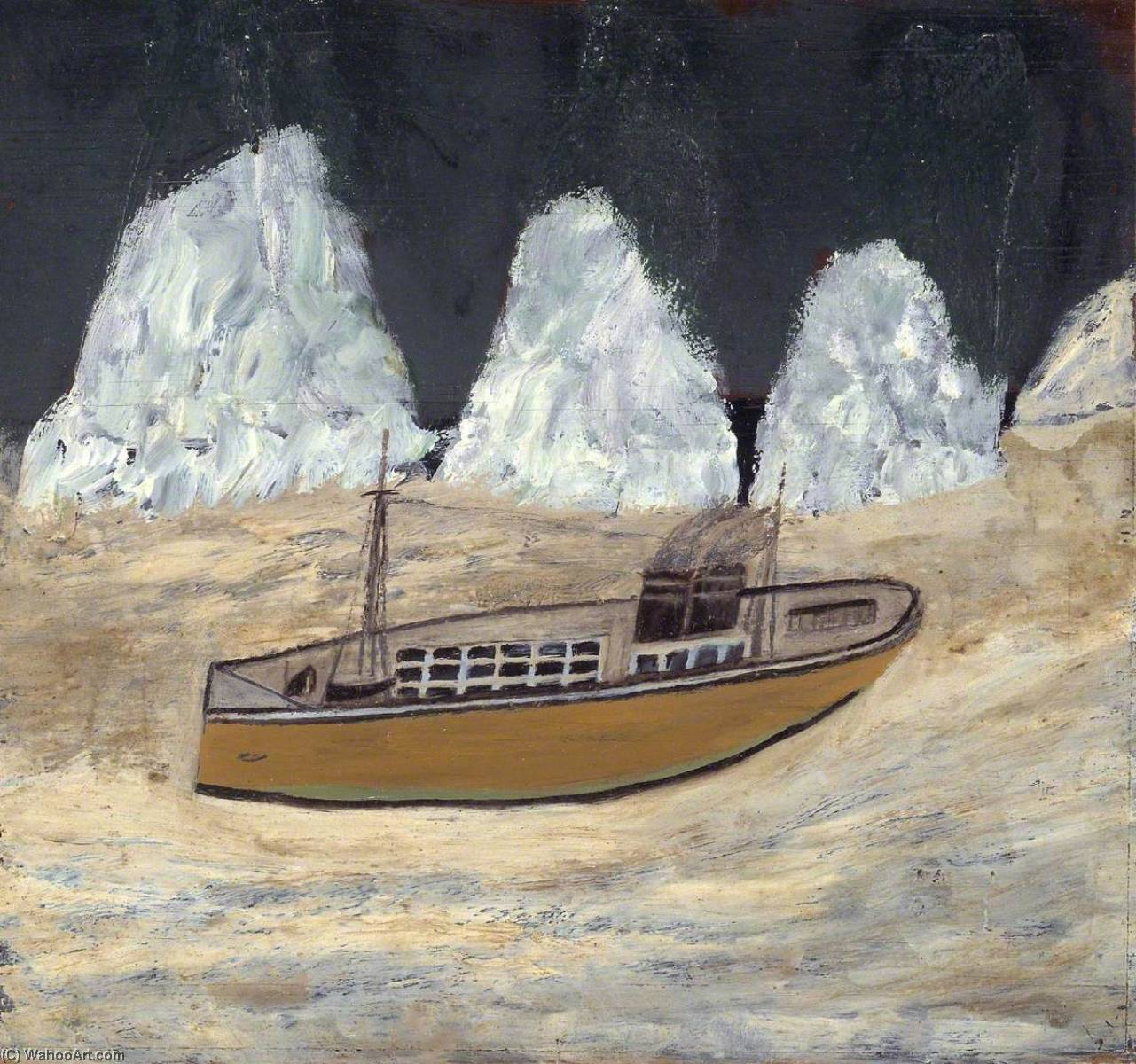 Voyage to Labrador, Oil by Alfred Wallis (1855-1942, United Kingdom)