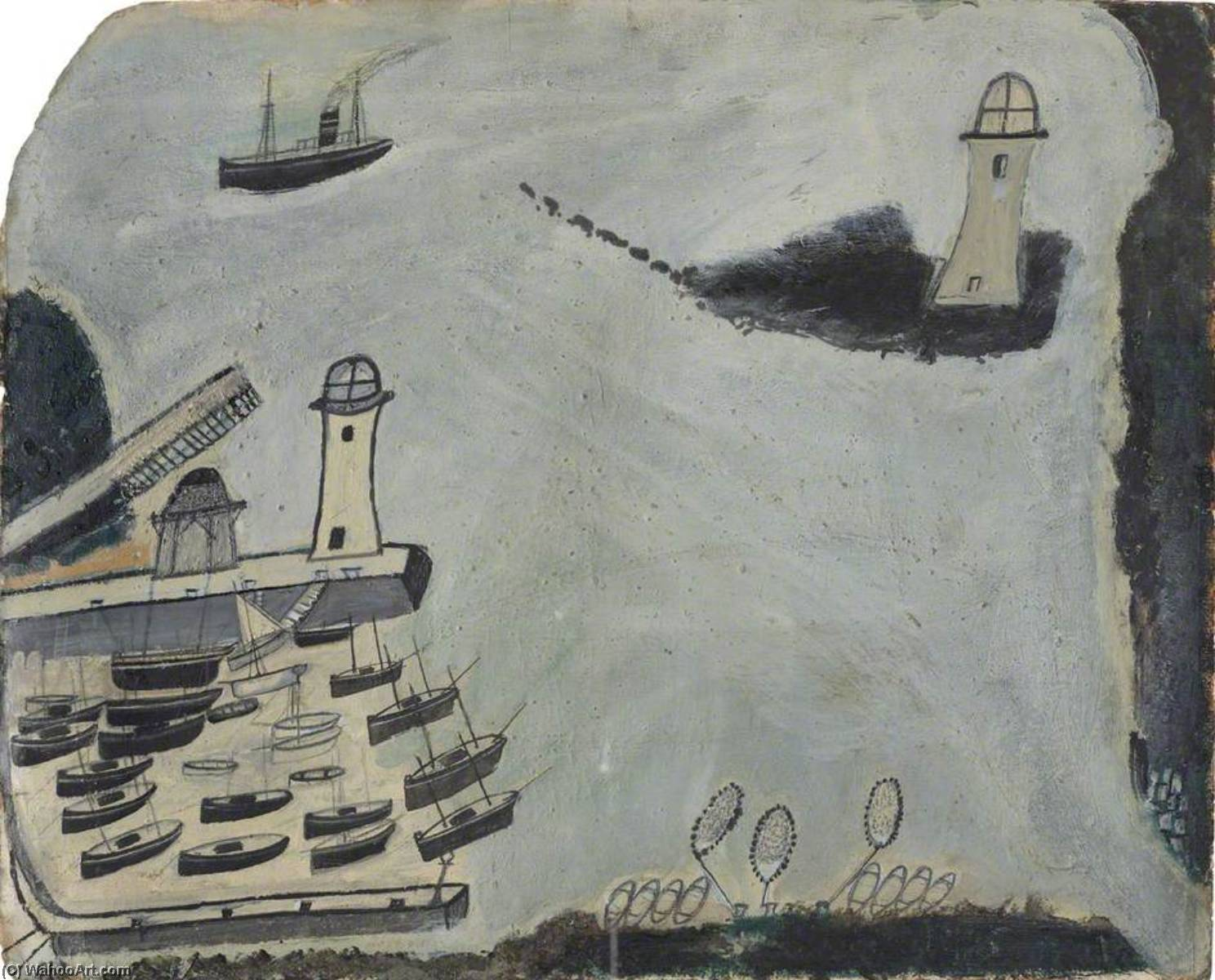 Harbour with Two Lighthouses and Motor Vessel, St Ives Bay, 1934 by Alfred Wallis (1855-1942, United Kingdom) | WahooArt.com