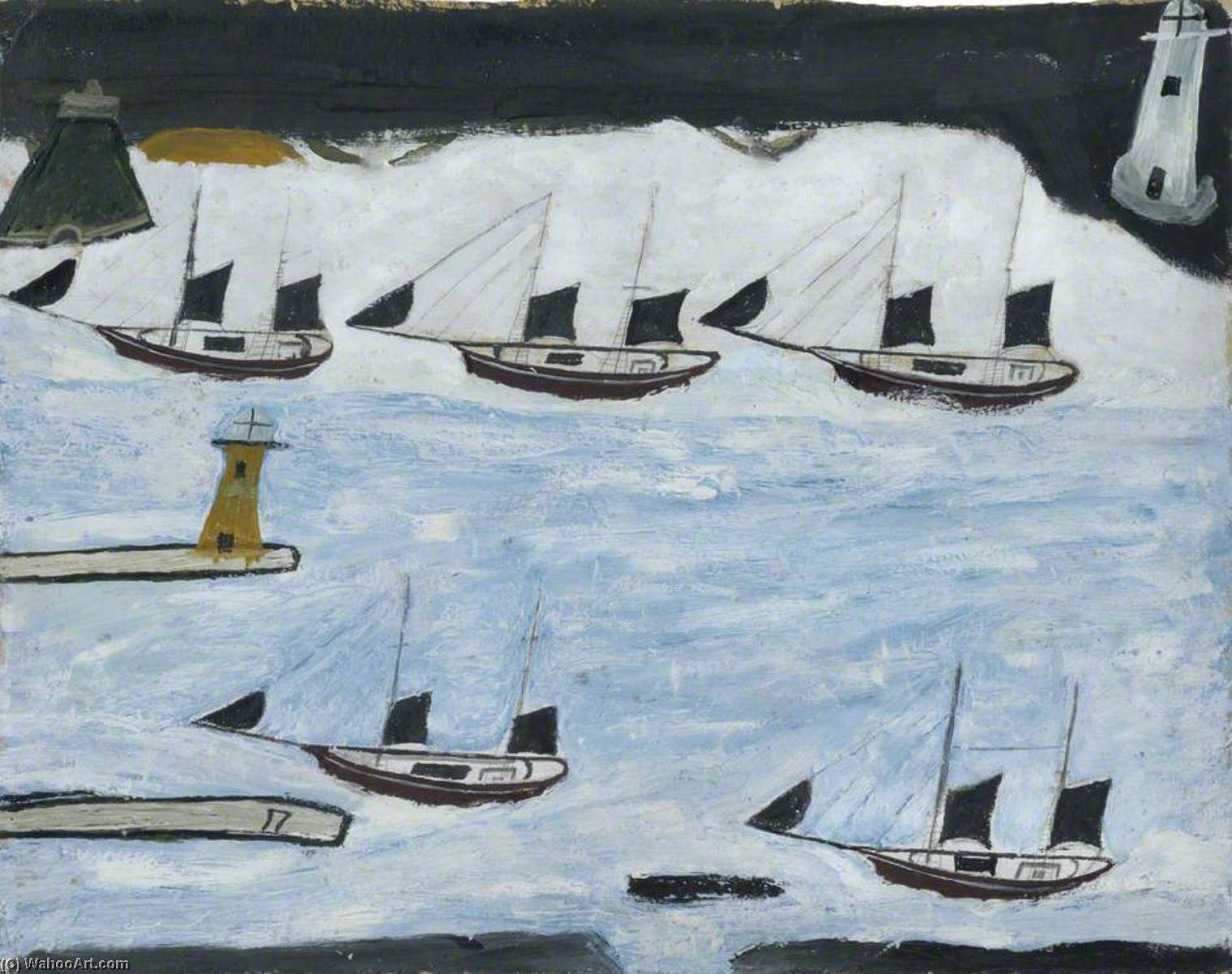 Five Ships, Mount's Bay, Graphite by Alfred Wallis (1855-1942, United Kingdom)