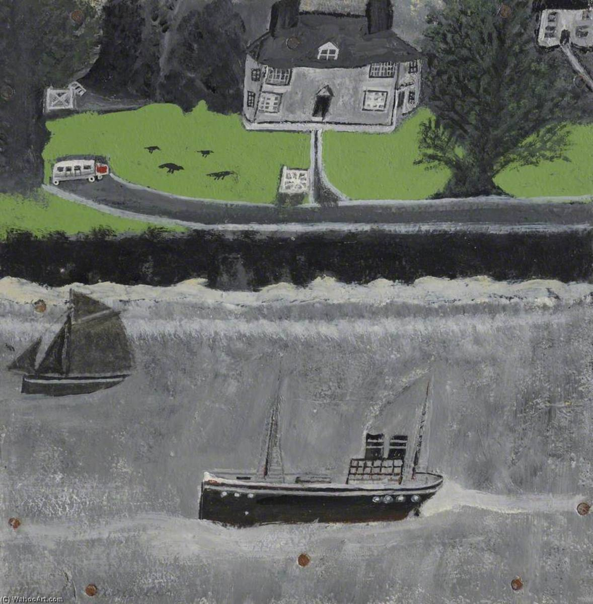Two Boats Moving Past a Big House, Oil by Alfred Wallis (1855-1942, United Kingdom)