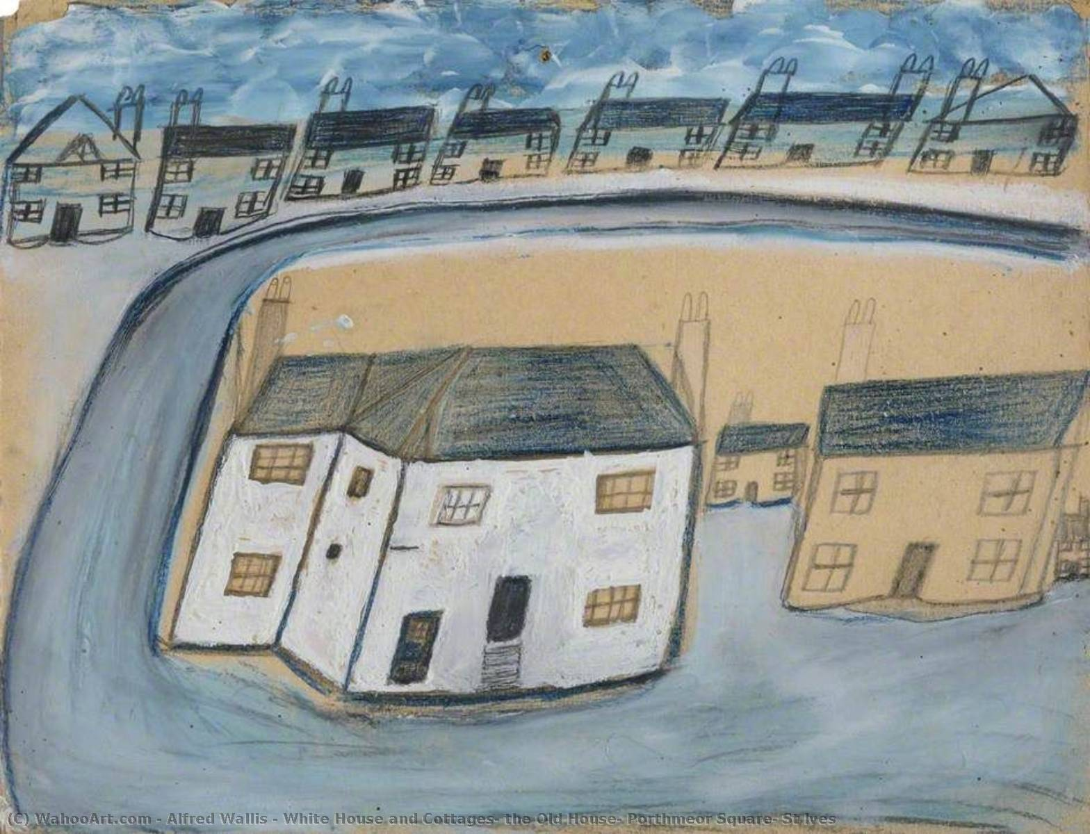 Order Art Reproduction : White House and Cottages, the Old House, Porthmeor Square, St Ives, 1932 by Alfred Wallis (1855-1942, United Kingdom) | WahooArt.com
