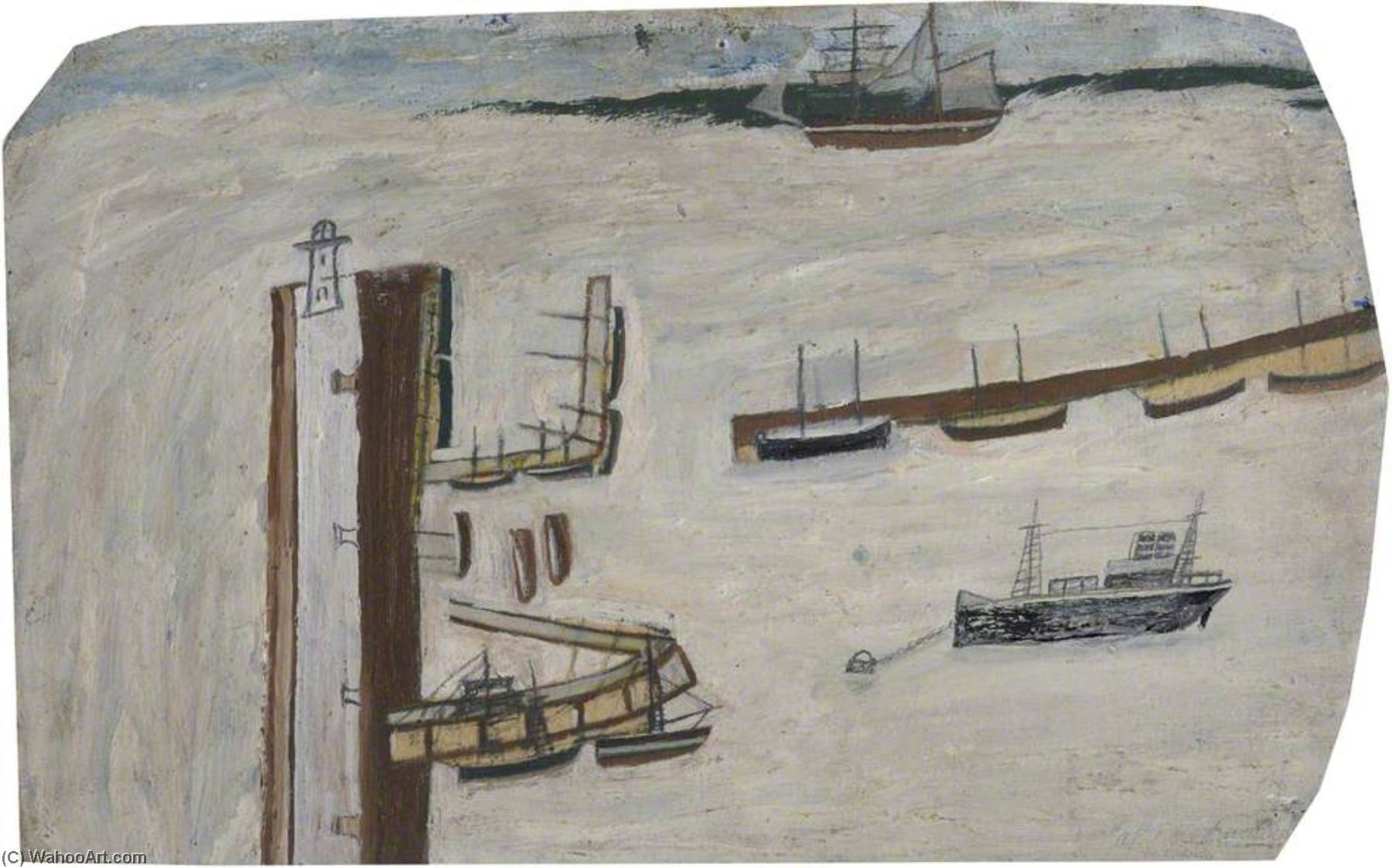 Harbour Scene (verso), 1937 by Alfred Wallis (1855-1942, United Kingdom) | Museum Quality Reproductions | WahooArt.com