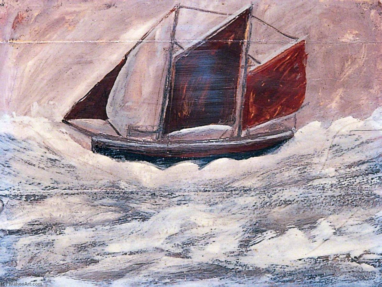 Boat, 1994 by Alfred Wallis (1855-1942, United Kingdom) | Famous Paintings Reproductions | WahooArt.com