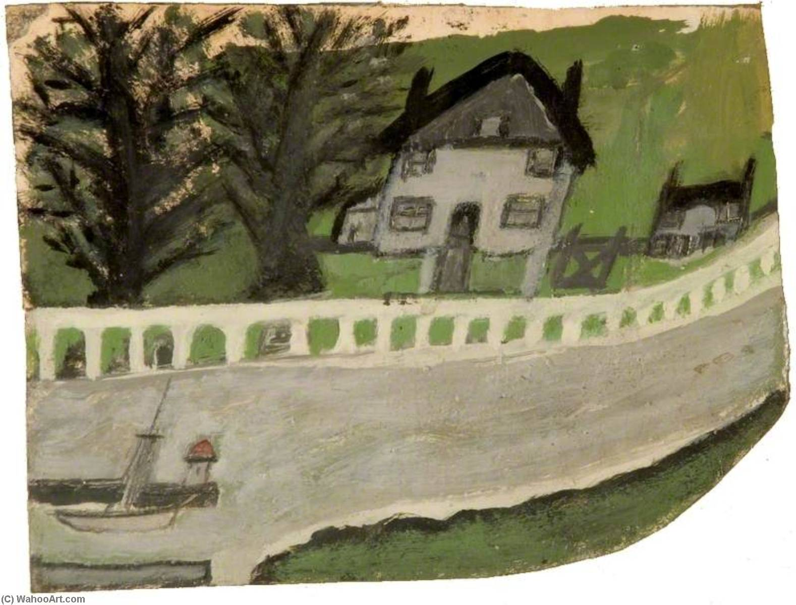 Landscape with a House and Trees by Alfred Wallis (1855-1942, United Kingdom) | Painting Copy | WahooArt.com