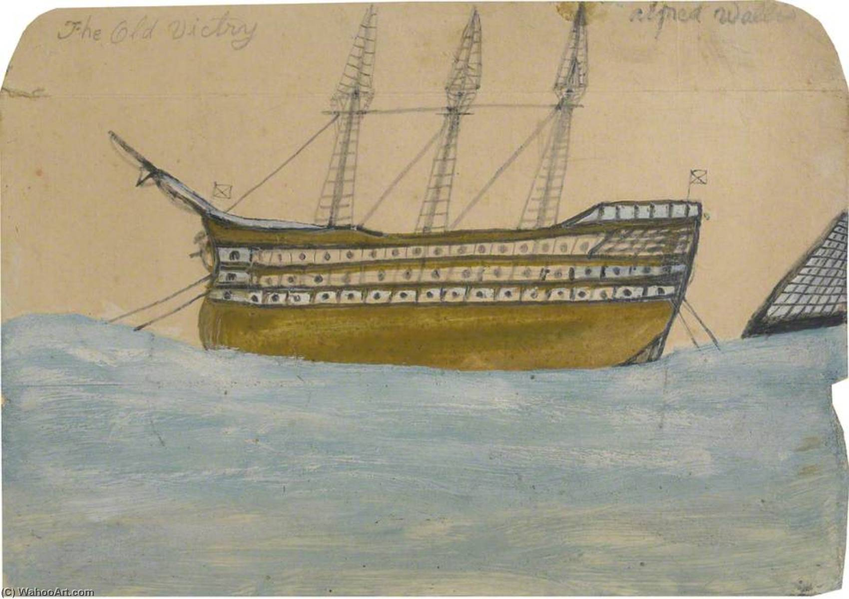 The Old Victry, HMS 'Victory', Graphite by Alfred Wallis (1855-1942, United Kingdom)